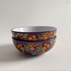 Laurel Burch Vintage Cat Bowls Set of 2 Multicolor